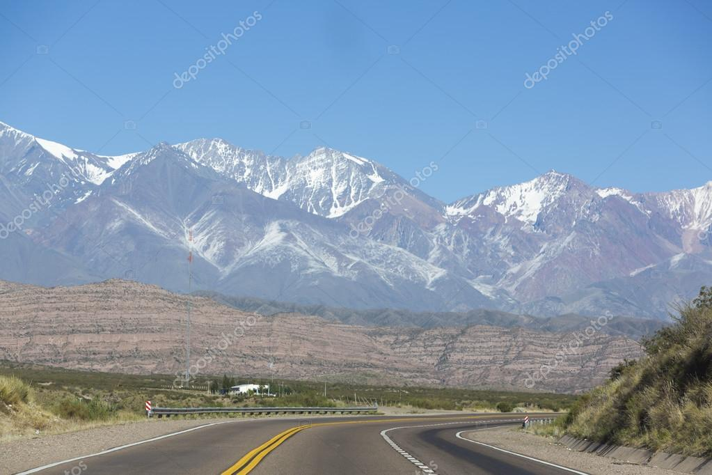 Famous road Ruta 7 and the Andean mountains
