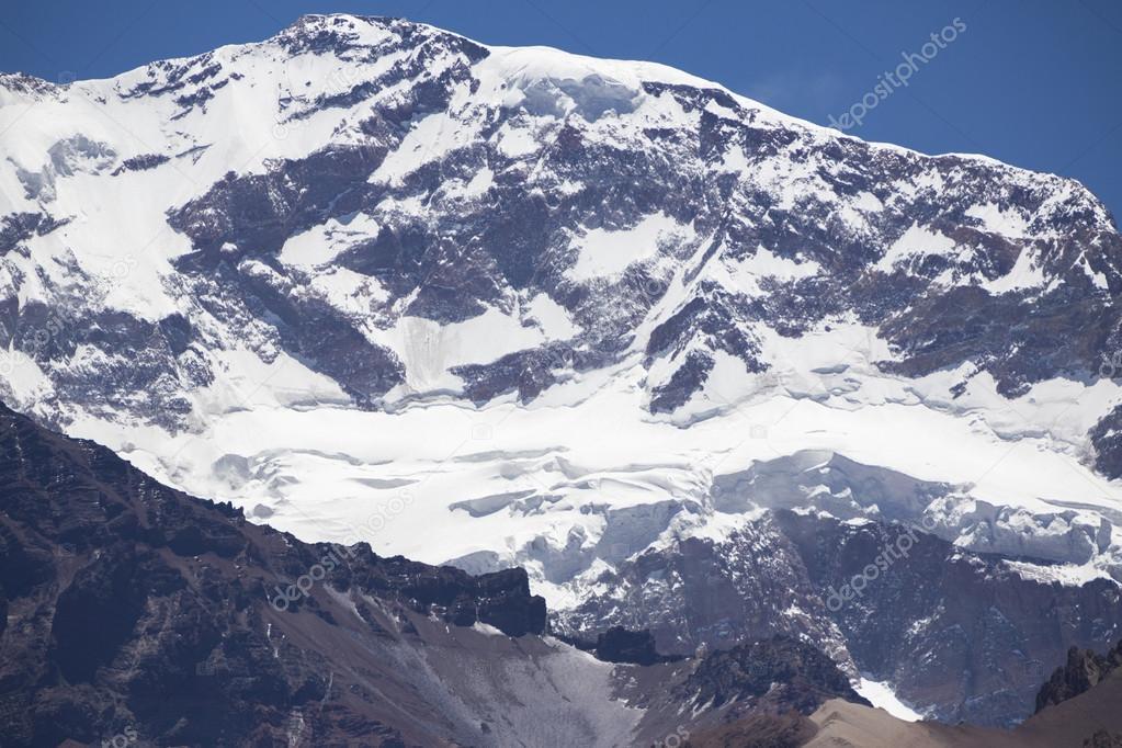 Aconcagua mountain peak with clear blue sky. Argentina