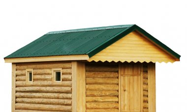 Tool shed, new log cabin to backyard or utility storage barn - isolate white background