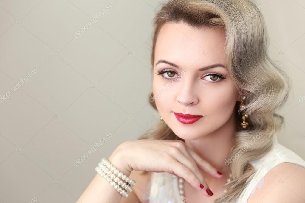 Woman With Retro Hairdo Stock Photo Lenanet 119946494