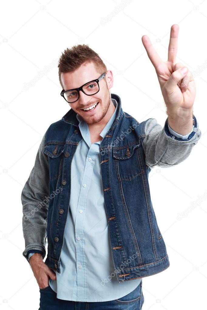 Segno vittoria casual uomo foto stock lenanet 64596135 for Piani di studio 300 piedi quadrati