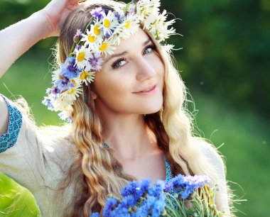Ukrainian woman with flowers wreath