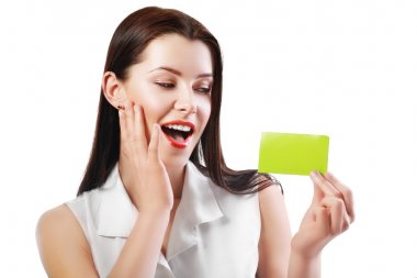 woman holds card