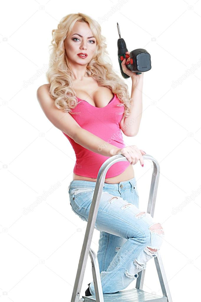 model in blue jeans with screw