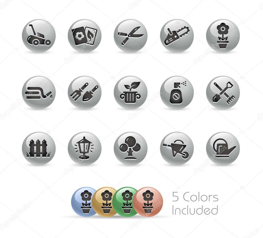 Gardening Icons -- Metal Round Series
