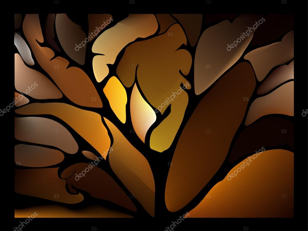 brown background stained glass window with fantastic leaves