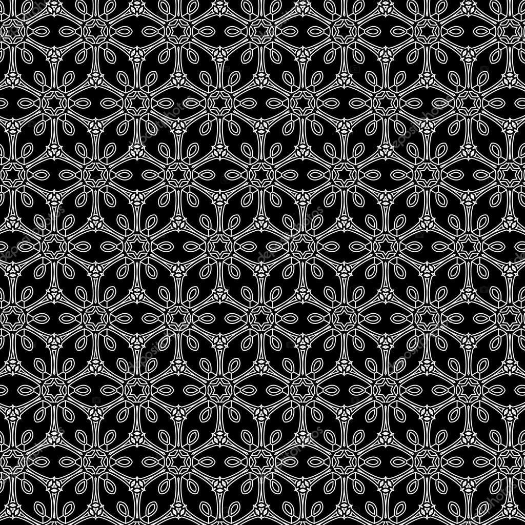 Primitive simple grey retro lace pattern with flowers and circles ...