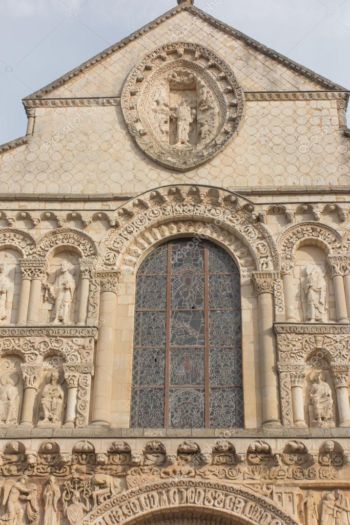 Exterior Of Notre Dame La Grande Church In Poitiers Detail Of F Stock Photo C Rparys 124453888