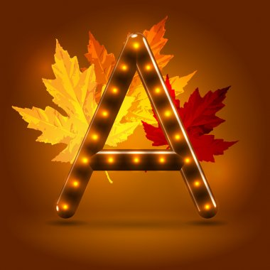Glossy stylish sans serif lighted capital A letter with falling maple leaves over warm caramel candy background. Autumn decorative concept clip art vector