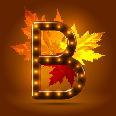 Glossy stylish sans serif lighted capital B letter with falling maple leaves over warm caramel candy background. Autumn decorative concept clip art vector