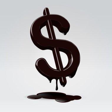Melting in petrolium dollar sign