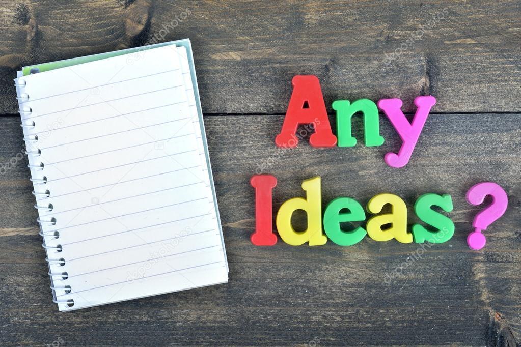 Irgendwelche Ideen? auf Holztisch — Stockfoto © fuzzbones #117271564