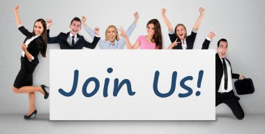 Join us word on banner