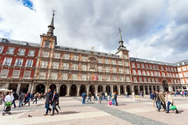 Tourists visiting Plaza Mayor in Madrid, Spain