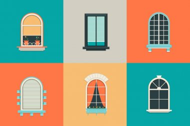 Vector flat set of icons for windows with pane. Rectangle and oval shape glass. Balcony with curtains, vase, shutter. New clean plastic arch.