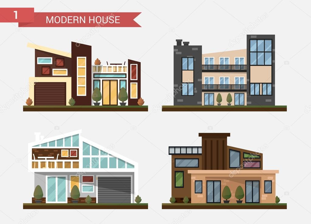 Vector Flat Illustration Traditional And Modern House. Family Home. Office  Building. Private Pavement