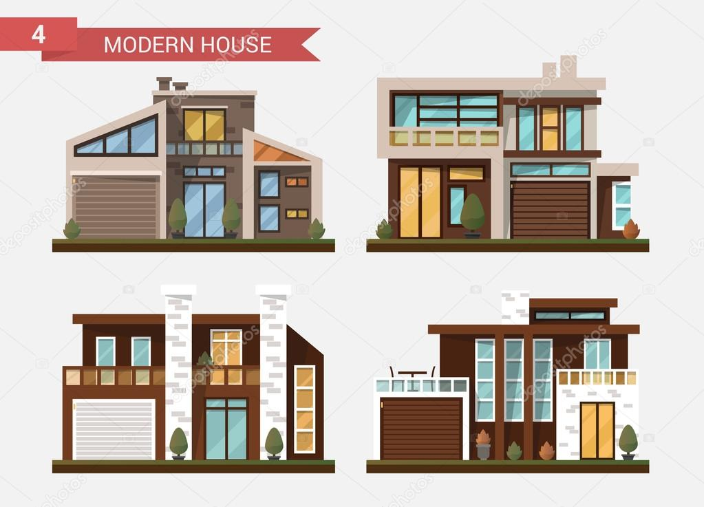 modern private home office. Vector Flat Illustration Traditional And Modern House. Family Home. Office Building. Private Pavement Home N