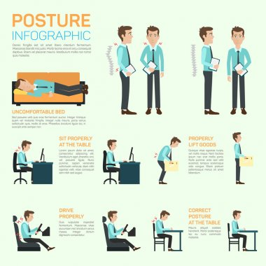 Vector elements of improving your posture. Infographic