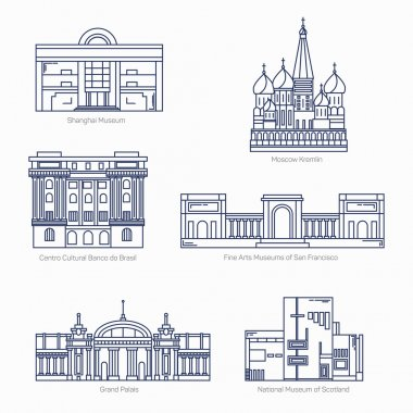 Monuments thin line vector icons. Shanghai museum, Moscow Kremlin, Bank of Brazil Cultural Center, Fine Arts Museums of San Francisco, Grand Palais, National museum of Scotland. Famous world museums.