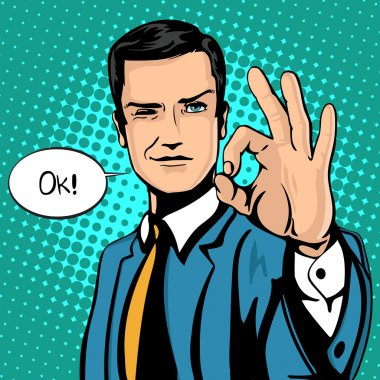 Vector illustration of successful businessman gives ok in vintage pop art comics style. Likes and positive feel. Gesture good, agree and smile.