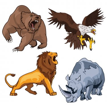 Safari terrifying feline lion with tail and roaring grizzly horribilis bear raising claw, zoo ferocious and dangerous rhino and belligerent eagle, hawk or falcon flying on the prey in cartoon style.