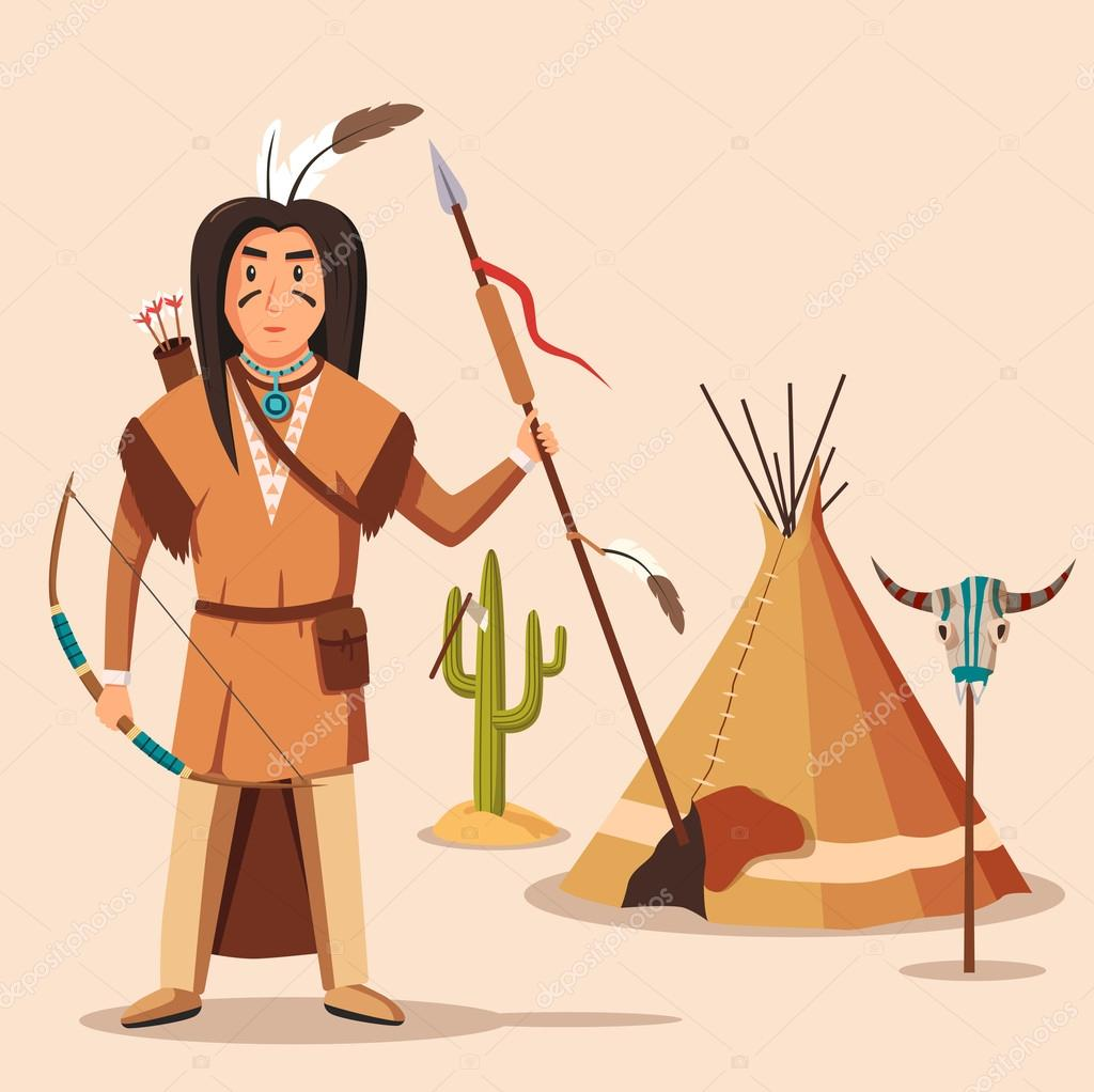 american or indigenous aboriginal indians with bow or longbow and