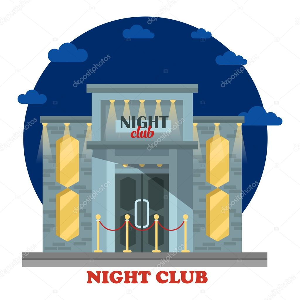 night club facade with entrance and lights building or construction