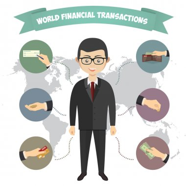 Assorted Vector Mode of Payment Types Drawings Isolated on Background. Infographics, a businessman engaged in financial transactions around the world