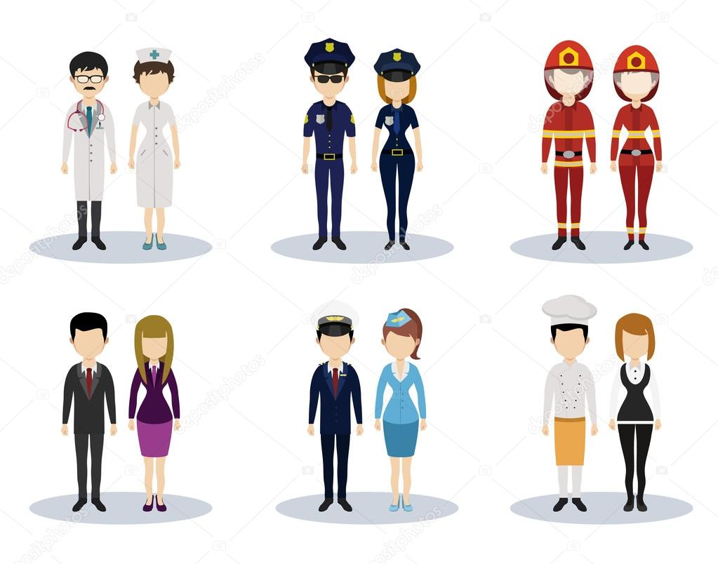 Male and female professional character vector set