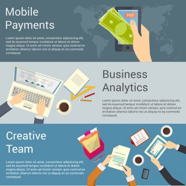 Set of flat design concepts for creative team, business analytics and mobile payments.