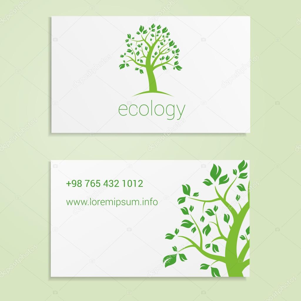 Ecological or eco energy company business card template with green tree. Cutaway and contact details.