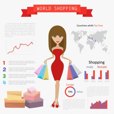 shopping world infographic, vector