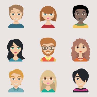 People icons peolple avatars flat style, vector clip art vector
