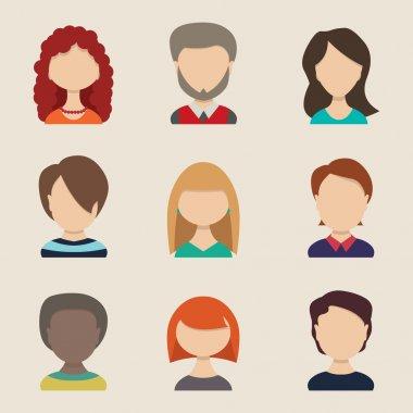 People icons, peolple avatars, flat style