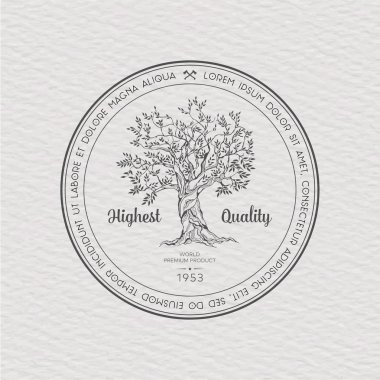 Vintage label with tree, vector illustration logo stock vector