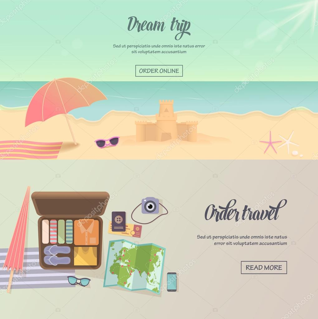Summer holidays, beach labels, umbrella and castle illustration