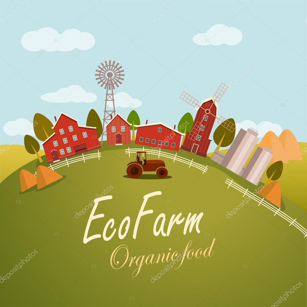 Vector illustration for fresh food. Eco farm concept