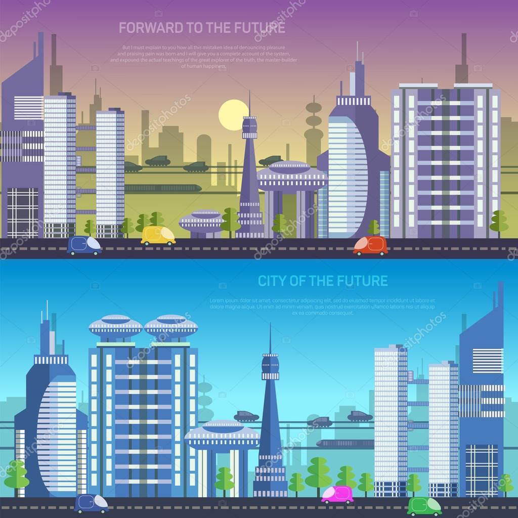Dome House Futuristic: Ciudad Vector Del Futuro — Vector