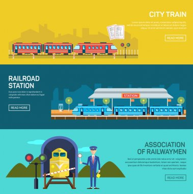 Railway design concept set with train station