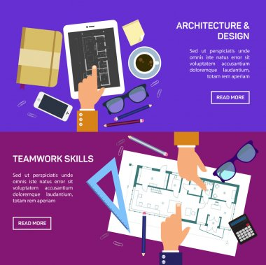 Vector illustration. Flat architectural project. Teamwork. Building and planning. Construction. Pencil, hand. Architecture and design clip art vector