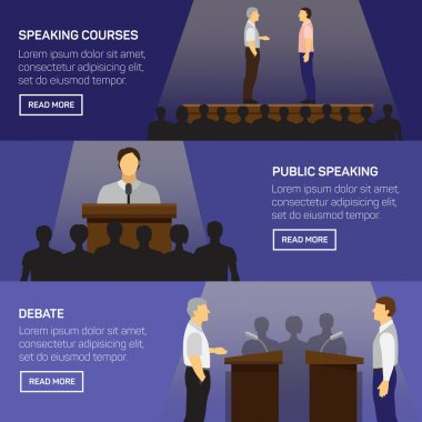 Public speaking design concept set