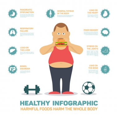 Flat health infographics , fat man eat hamburger