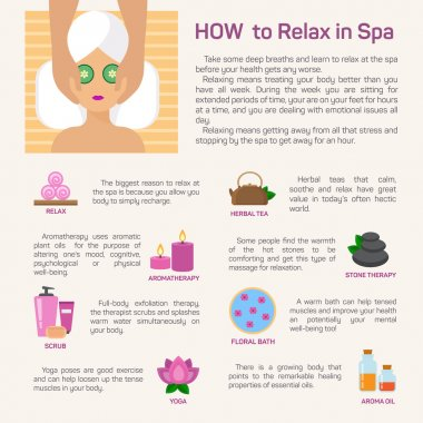 Vector relax in spa, flat modern design infographic