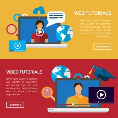 Flat education, training, online tutorial, e-learning concept.
