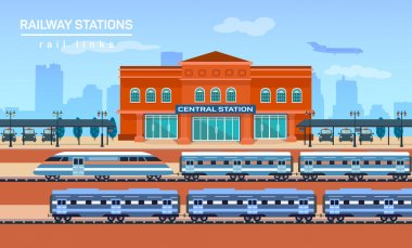 Railway station, vector flat background illustration