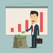 Vector flat illustration businessman with pile of money