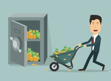 Vector flat illustration businessman with hand wheel-barrow full money.