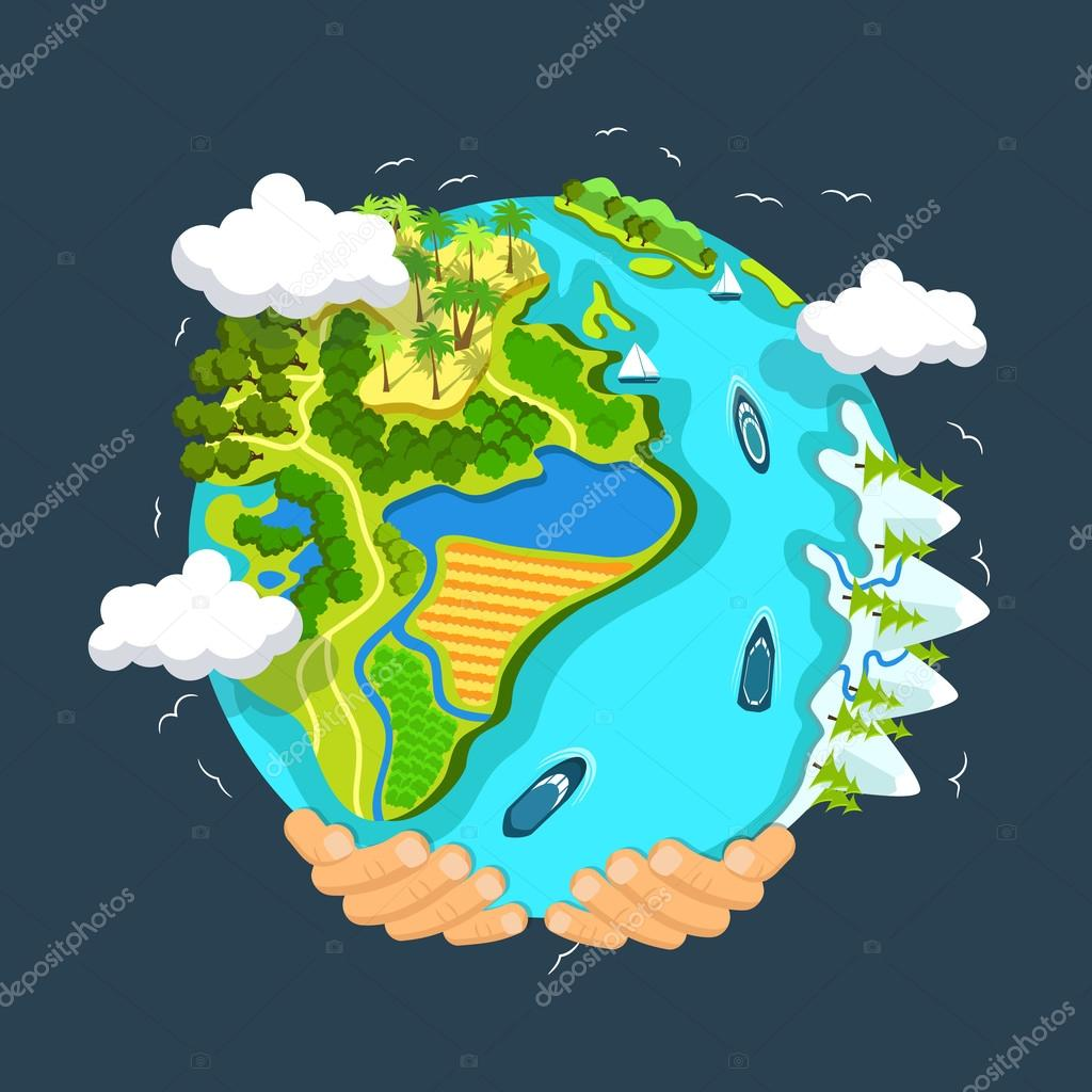 Earth day concept. Human hands holding floating globe in space