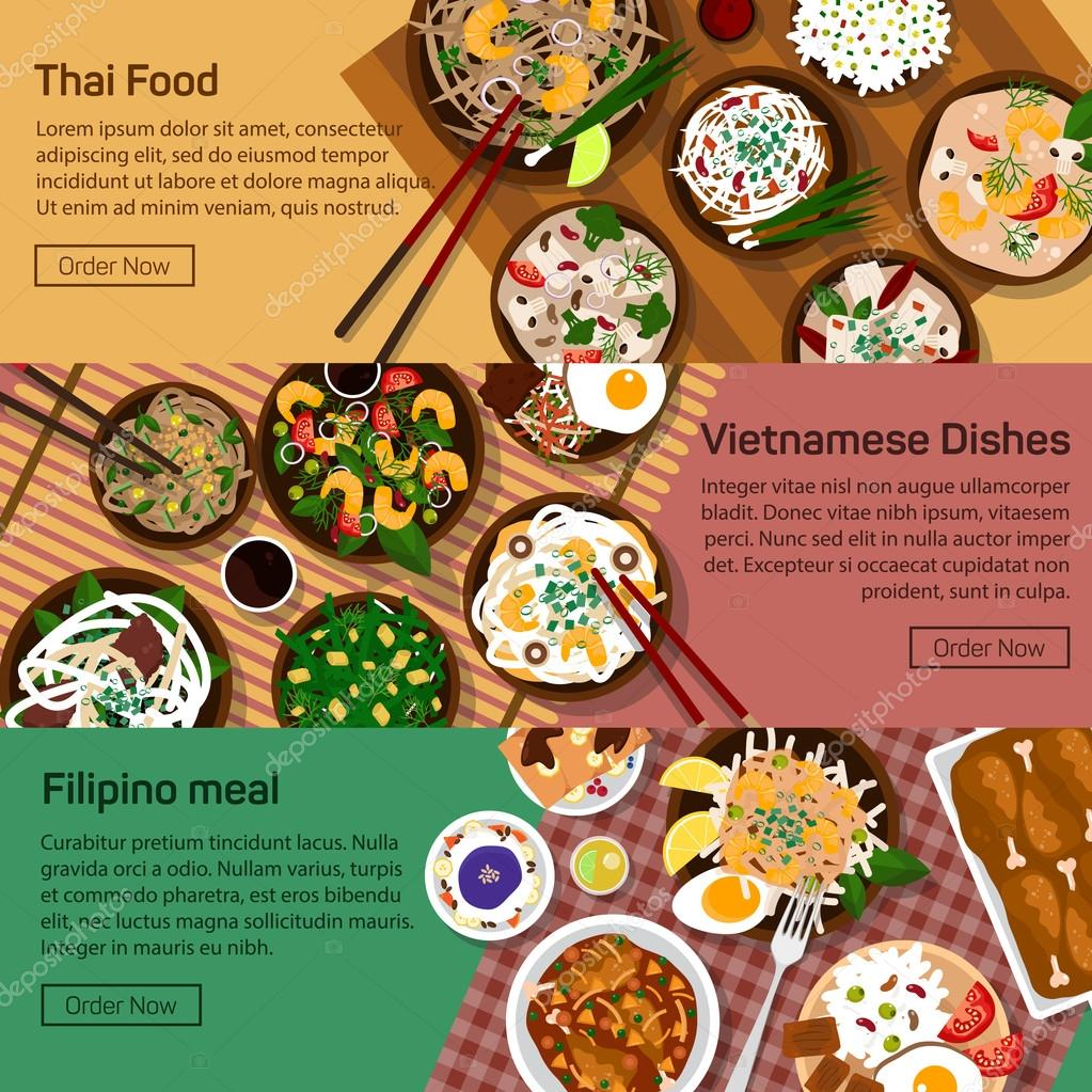 Vector flat illustration of thai, vietnam, philippines national dishes.
