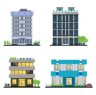 Set of vector modern business center with diverse architecture facades.Houses and office buildings in a big city. Shops and cafes, offices. Elements for the construction of urban landscapes.